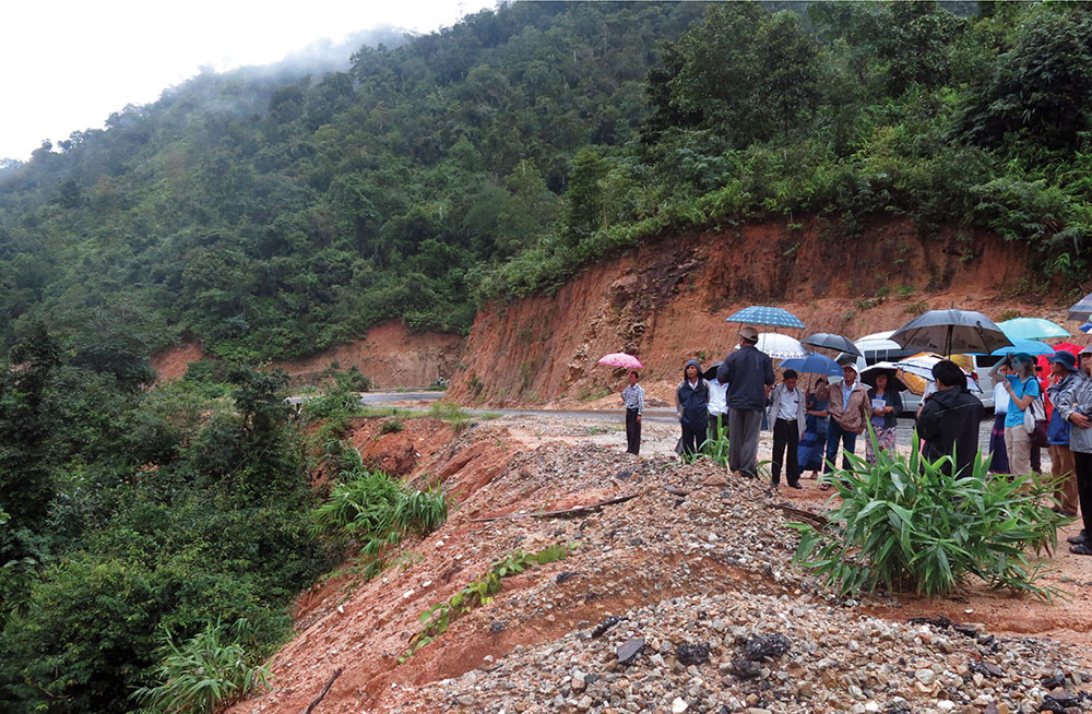 Government officials touring land use change and road development in Tanintharyi, 2015.