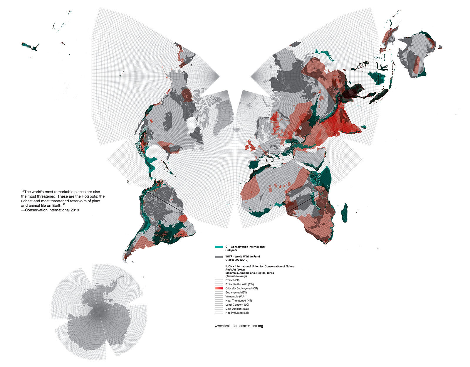 Global threatened biodiversity areas categorized by the IUCN, CI and WWF.