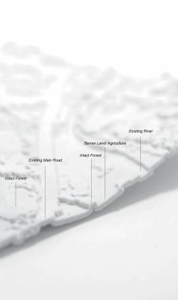 3D-printed study model of landscape patterns at sample site Muara Labuh, Sumatra. By TSANG Yik Ming Yammi, 2018.