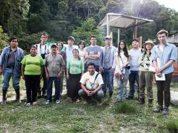 HKU student research team with ECOAN (NGO) and Conservation International staff at a nursery outside Alto Mayo Protected Forest, San Martin, Peru. By Ashley Scott Kelly, 2012.