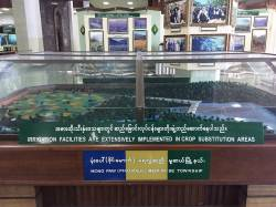 Students visited the Drug Elimination Museum in Yangon to learn about the Tatmadaw's development of ethnic regions. By Ashley Scott Kelly, 2017.