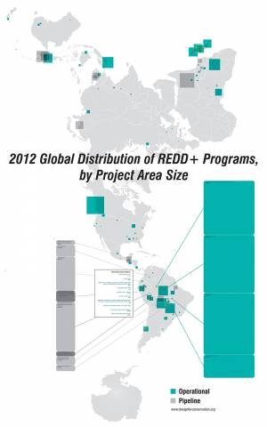 Global Distribution of REDD+ (Reduced Emissions from Deforestation and Forest Degradation Programs), 2012.