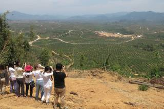 HKU students observing the Myanmar Stark Prestige Plantation (MSPP) east of Myeik city, Tanintharyi, Myanmar. By Ashley Scott Kelly, 2016.