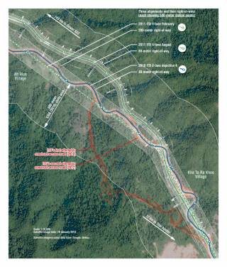 Three planned alignments for the Dawei road link between Ah Moe and Kha Ta Ra Khee villages. By Ashley Scott Kelly, 2019.