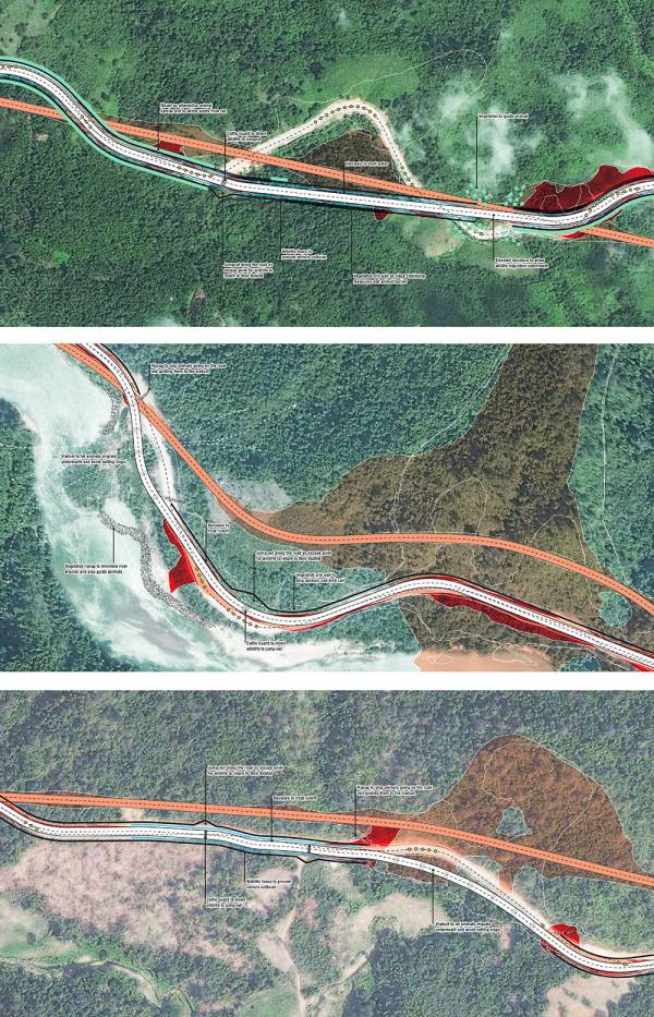 In-situ studies of three alignment scenarios at three locations along the Dawei road.
