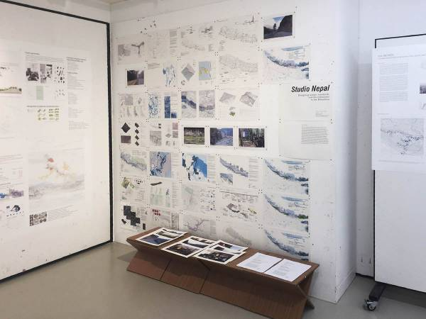Student research and field photos exhibited at studio final review, 2016.